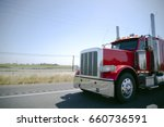 big rig classic red semi truck... | Shutterstock . vector #660736591