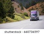 lilac semi truck with aluminum...   Shutterstock . vector #660736597