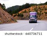 lilac semi truck with aluminum...   Shutterstock . vector #660736711