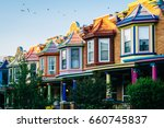 colorful row houses on guilford ... | Shutterstock . vector #660745837