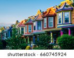 colorful row houses on guilford ... | Shutterstock . vector #660745924