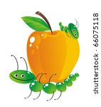 The cheerful caterpillar bears the big apple - stock photo
