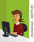 customer service woman in front ... | Shutterstock .eps vector #66075133
