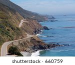 Big Sur Coastline and Pacific Coast Highway, in Northern California - stock photo
