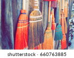 various sizes of brooms are...   Shutterstock . vector #660763885