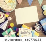 Small photo of Birthday Celebration with Cake Presents Card Copy Space