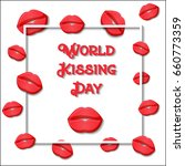 world kissing day greeting card ... | Shutterstock .eps vector #660773359
