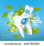 tube of toothpaste with mint...   Shutterstock .eps vector #660780385