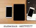 smartphone and tablet with... | Shutterstock . vector #660795577