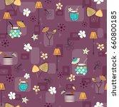 mid century hawaiian cocktails... | Shutterstock . vector #660800185