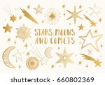 golden stars  moons  comets....   Shutterstock .eps vector #660802369