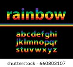 set of rainbow colored alphabet ... | Shutterstock .eps vector #660803107