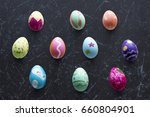 a variety easter painted eggs...   Shutterstock . vector #660804901