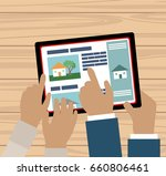 couple hands with tablet... | Shutterstock .eps vector #660806461