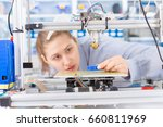 a female student or laboratory... | Shutterstock . vector #660811969