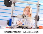 a female student or laboratory... | Shutterstock . vector #660813355