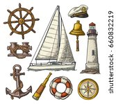 set sea adventure. anchor ... | Shutterstock .eps vector #660832219