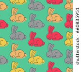 colored rabbit seamless pattern.... | Shutterstock .eps vector #660835951
