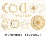 Golden Moons And Suns. Vector....