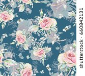 seamless rose pattern and... | Shutterstock . vector #660842131