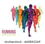 running marathon  people run ... | Shutterstock .eps vector #660842269