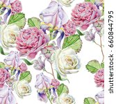 seamless pattern with flowers.... | Shutterstock . vector #660844795