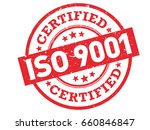 iso 9001 certified red rubber... | Shutterstock .eps vector #660846847