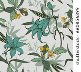 botanical flowers with leaves... | Shutterstock .eps vector #660856399