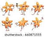 vector set of six cartoon... | Shutterstock .eps vector #660871555