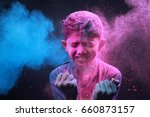 little boy plays with colors... | Shutterstock . vector #660873157
