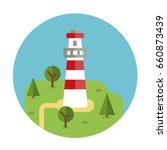 lighthouse vector flat icon... | Shutterstock .eps vector #660873439