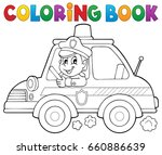 coloring book police car theme... | Shutterstock .eps vector #660886639