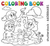 coloring book children and sand ... | Shutterstock .eps vector #660886681