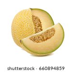 galia melon cut from whole... | Shutterstock . vector #660894859