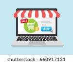 online store concept on laptop... | Shutterstock .eps vector #660917131
