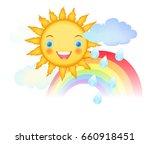 smiling cartoon sun character...   Shutterstock .eps vector #660918451