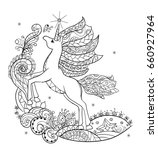 coloring book. fabulous white... | Shutterstock .eps vector #660927964