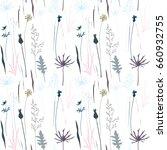 vector floral seamless pattern... | Shutterstock .eps vector #660932755