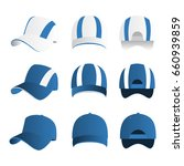 strip baseball cap light blue... | Shutterstock .eps vector #660939859