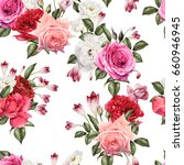 seamless floral pattern with... | Shutterstock . vector #660946945