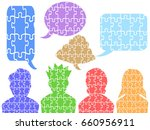 people head puzzle with speech... | Shutterstock .eps vector #660956911