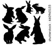 rabbit silhouette  vector ... | Shutterstock .eps vector #660965155