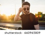 young beautiful man on the... | Shutterstock . vector #660965809