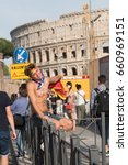 Small photo of Rome, Italy - June 10, 2017: People participating the Rome gay pride parade. Gay pride or LGBT pride is the positive stance against discrimination and violence toward LGBT people