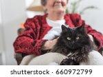 elderly woman with her black cat | Shutterstock . vector #660972799