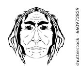 face of old indian in black and ... | Shutterstock .eps vector #660972829