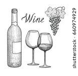 wine set. wine glass  bottle ... | Shutterstock .eps vector #660974929