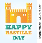 bastille fortress with text for ... | Shutterstock .eps vector #660976429