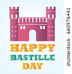 bastille fortress with text for ... | Shutterstock .eps vector #660976441