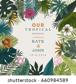 vintage wedding card. botanical ... | Shutterstock .eps vector #660984589